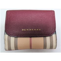 Burberry Check Design & Leather Coin Purse Wallet
