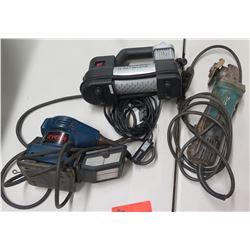 Makita 9557P6 Grinder, Ryobi Sander & Husky 12 Volt Inflator