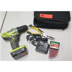 Ryobi HJP003 Drill Driver w/ Case, Charger, Bits & Needlenose Plyers