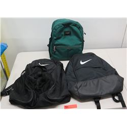Qty 3 Backpacks - 2 Black Nike & Green State Bag