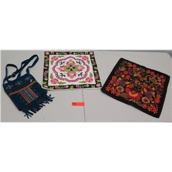 Artesanias Hecho A Mano Embroidered Pillow Covers & Suede Bag