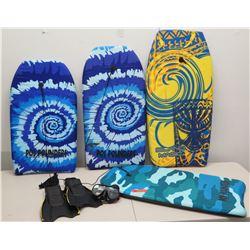 Qty 4 Boogie Boards - 3 Poi Pounders & Island Magic w/ Sea Sports Fins