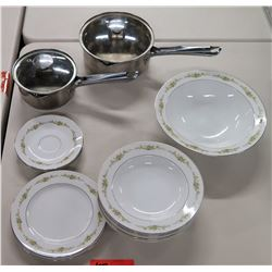 Japan Four Crown China Dish Set & 2 Saucepans w/ Clear Lids