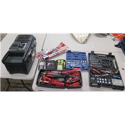 Qty 2 Socket Sets w/ Ratchets & Tool Box w/ Misc Hand Tools