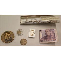 Coin, Hawaii Coin, Pennsylvania Coin, 3 @ 10000 Nippon Ginko & Fan
