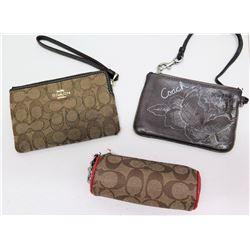 """2 Rectangular Coach Handbags Clutches (approx. 6.5"""") & Monogrammed Golf Ball Pouch"""
