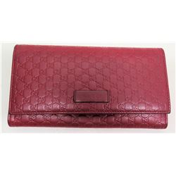 """Gucci Red Monogram Wallet / Clutch, Approx. 9"""""""