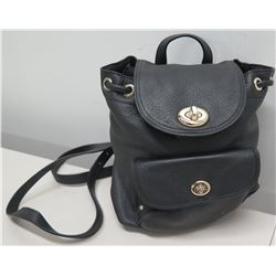 """Coach Black Pebble Leather Handbag w/ Backpack Straps, Approx. 9"""" H"""