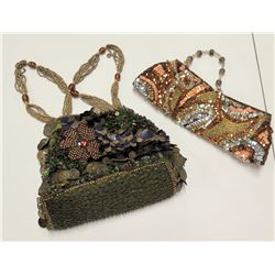 Qty 2 Beaded Sequin Design Handbags