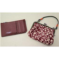 Saint Laurent Paris Pebble Leather Wallet & Burgundy Floral Handbag