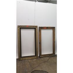 "Qty 2 Large Wooden Picture Frames 58.5"" x 34"", 57"" x 32"""