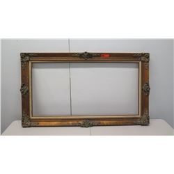 "Large Wooden Picture Frame w/ Intricate Design 56.5"" x 32"""