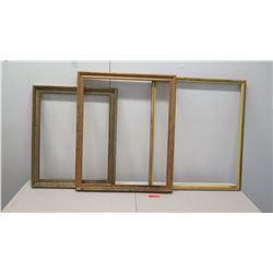"""3 Wooden Gilt Frames 31.5"""" x 37"""", 26.5"""" x 32.5"""", 31"""" x 37"""""""