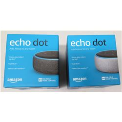 Qty 2 New Amazon Echo Dot Alexa Voice-Control Wireless Speaker (non-HPD)