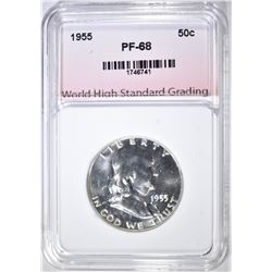 1955 FRANKLIN HALF, WHSG SUPERB GEM PROOF+