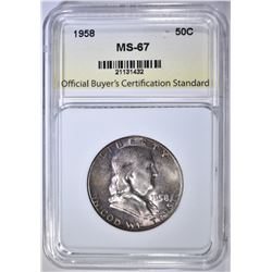 1958 FRANKLIN HALF DOLLAR, OBCS SUPERB GEM BU