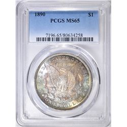 1890 MORGAN DOLLAR PCGS MS-65 RAINBOW COLOR