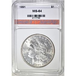 1891 MORGAN DOLLAR, AGP CH/GEM BU