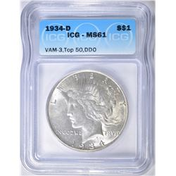 1934-D PEACE DOLLAR ICG MS-61 VAM-3 DDO TOP 50