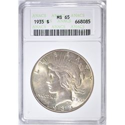 1935 PEACE DOLLAR ANACS MS-65