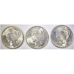 3-BU 1923 PEACE DOLLARS