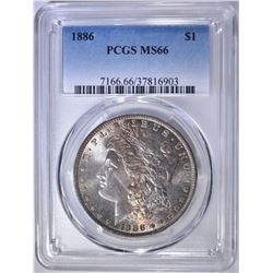 1886 MORGAN DOLLAR  PCGS MS-66