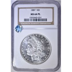 1887 MORGAN DOLLAR  NGC MS-64 PL
