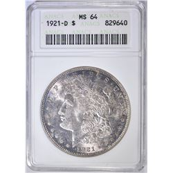 1921-D MORGAN DOLLAR  ANACS MS-64
