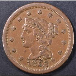 1853 LARGE CENT  GEM BROWN UNC.