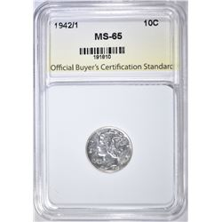 1942/1 MERCURY DIME  OBCS GEM BU WHITE