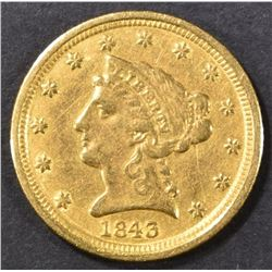 1843-D $2.5 GOLD LIBERTY  AU