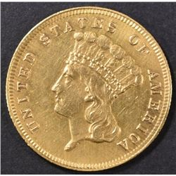1867 $3 GOLD  AU CLEANED