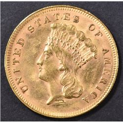 1878 $3 GOLD  AU/BU  SCRATCHES