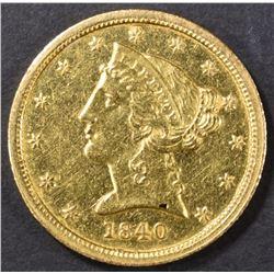1840-C $5 GOLD LIBERTY  AU/BU