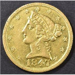 1847-D $5 GOLD LIBERTY  AU