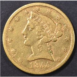 1855-S $5 GOLD LIBERTY  XF
