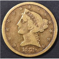 1879-CC $5 GOLD LIBERTY  VF