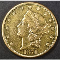 1874-CC $20 GOLD LIBERTY  CH AU