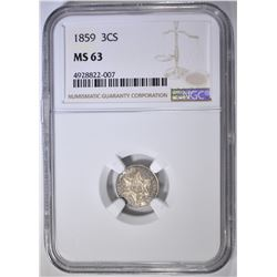 1859 3 CENT SILVER  NGC MS-63