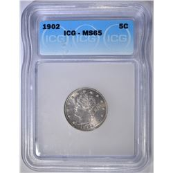 1902 LIBERTY NICKEL  ICG  MS-65