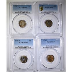 LOT OF 4 PCGS GRADED ROOSEVELT DIMES: