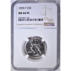 1995-P WASHINGTON QUARTER, NGC MS-66 PL