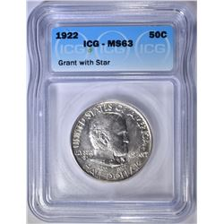 1922 GRANT COMMEM HALF DOLLAR  ICG MS-63