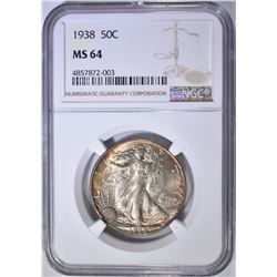 1938 WALKING LIBERTY HALF DOLLAR  NGC MS-64