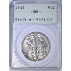 1943 WALKING LIBERTY HALF DOLLAR  PCGS MS-64