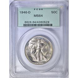 1946-D WALKING LIBERTY HALF,  PCGS MS-64  OGH