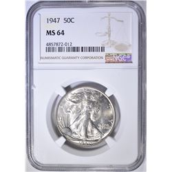 1947 WALKING LIBERTY HALF DOLLAR  NGC MS-64