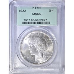 1922 PEACE DOLLAR  PCGS MS-65 OGH