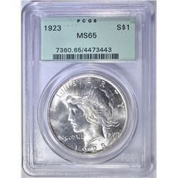 1923 PEACE DOLLAR  PCGS  MS-65 OGH