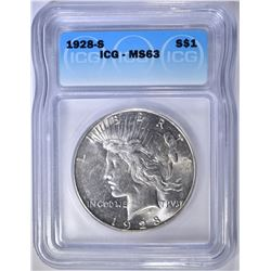 1928-S PEACE DOLLAR  ICG MS-63